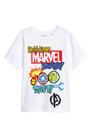 T-shirt with a print motif - White/Marvel - Kids | H&M CN 1