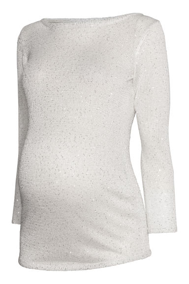 MAMA Jumper with sequins - Natural white/Sequins -  | H&M GB