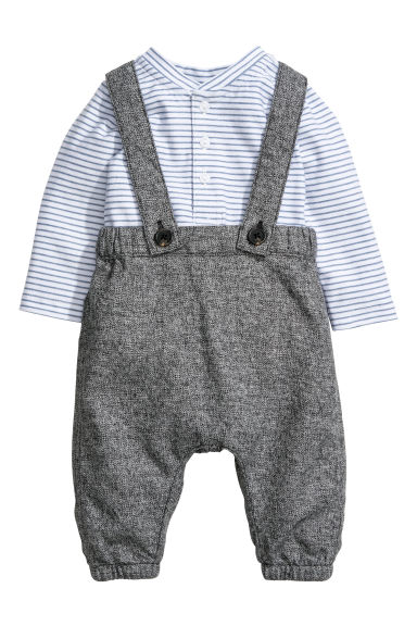 Bodysuit and dungarees - White/Grey - Kids | H&M CN 1