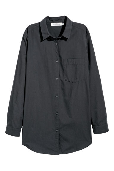 Wide cotton shirt - Black - Ladies | H&M CN