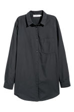 Wide cotton shirt - Black - Ladies | H&M IE 2