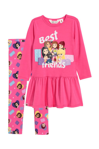 Dress and leggings - Pink/Lego - Kids | H&M