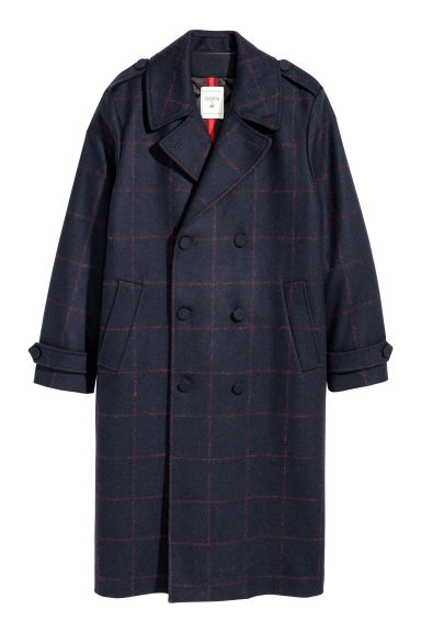 Checked wool-blend coat Model