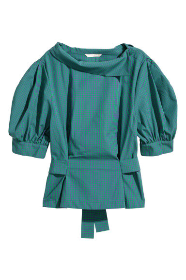 Puff-sleeved blouse - Green/Purple checked - Ladies | H&M GB