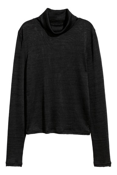Fine-knit polo-neck jumper - Black -  | H&M