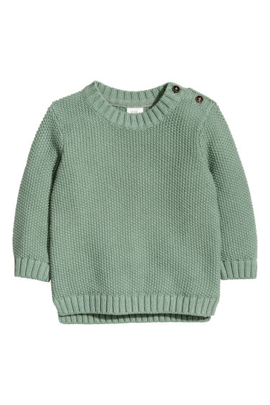 Textured-knit jumper - Dusky green - Kids | H&M
