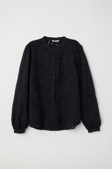 Blouse with broderie anglaise - Black -  | H&M