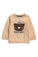 Chandail maille fine de coton - Beige/Really Happy - ENFANT | H&M CA 1