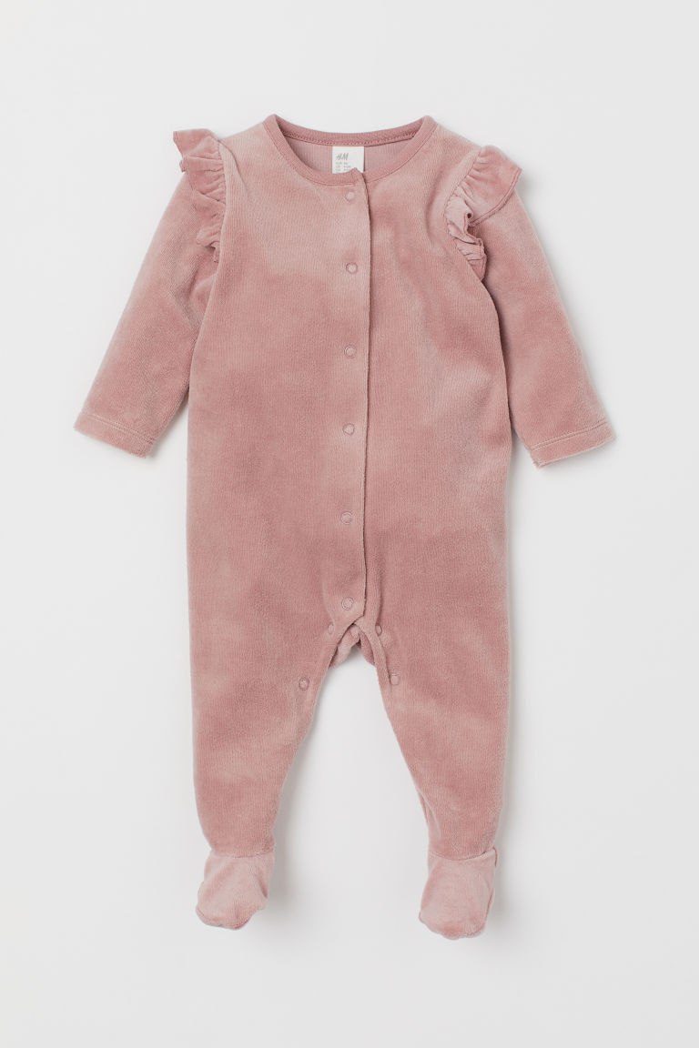 Velour all-in-one suit - Pink - Kids   H&M GB