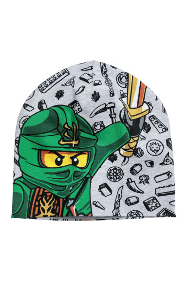 Printed jersey hat - Light grey/Lego - Kids | H&M CN