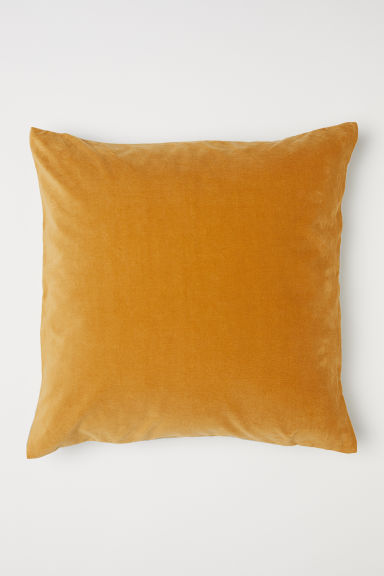 Copricuscino in lino e velluto - Giallo scuro/beige - HOME | H&M IT