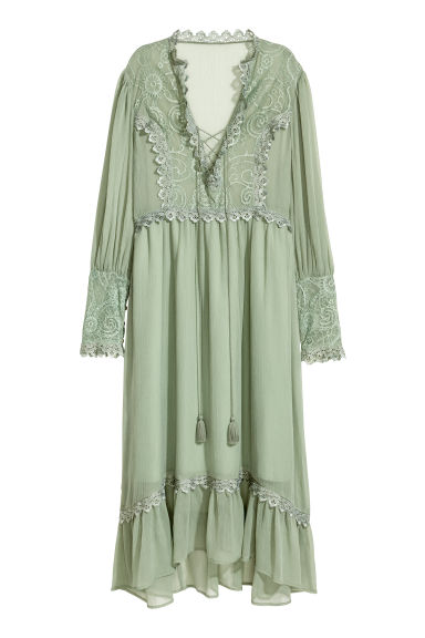 Chiffon dress with lace - Dusky green - Ladies | H&M