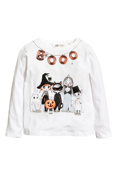 Jersey top with a print motif - White/Witch - Kids | H&M