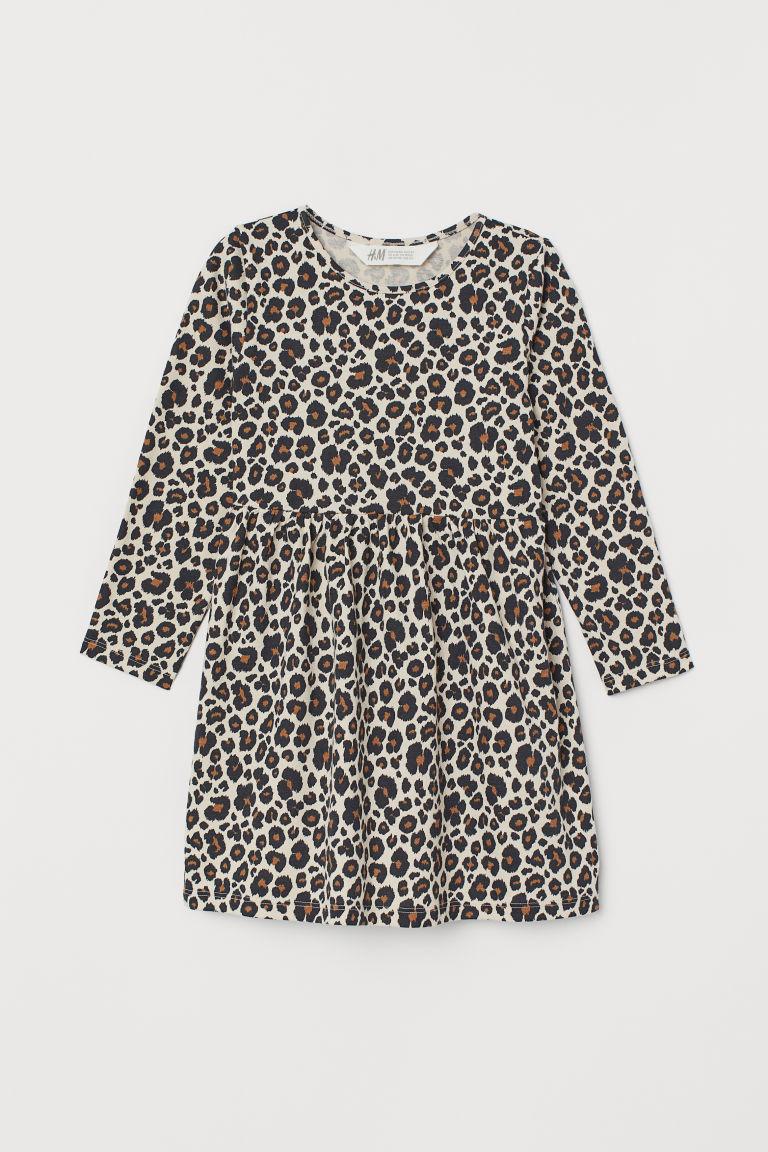 Patterned jersey dress - Light beige/Leopard print - Kids   H&M GB