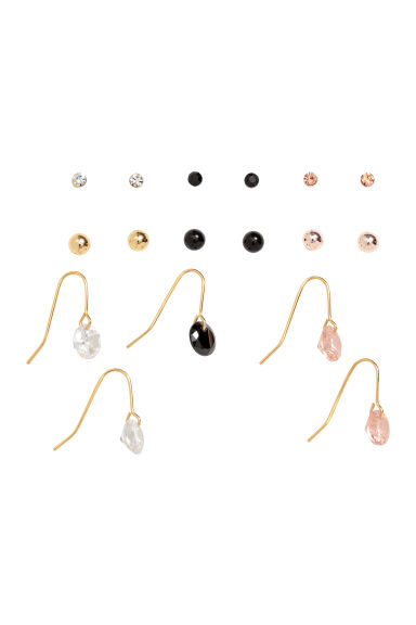 9 pairs earrings - Black/Gold-coloured - Ladies | H&M 1