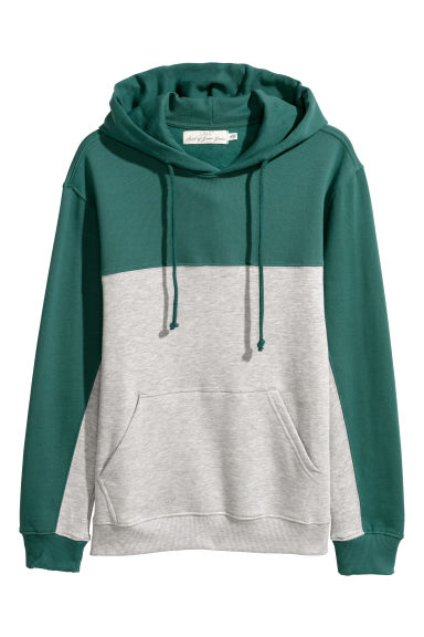 Block-coloured hooded top - Dark green/Grey - Men | H&M CN