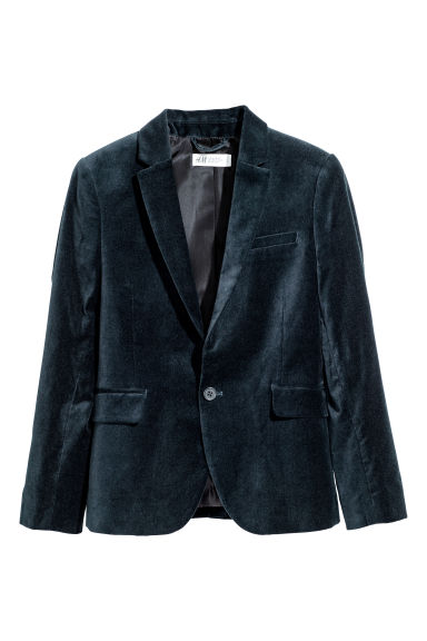 Single-breasted jacket - Dark blue/Velvet -  | H&M CN