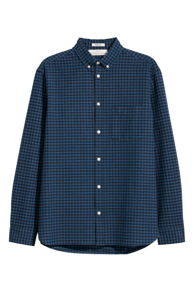 Camisa Oxford Regular fit - Azul oscuro/Cuadros negros -  | H&M ES