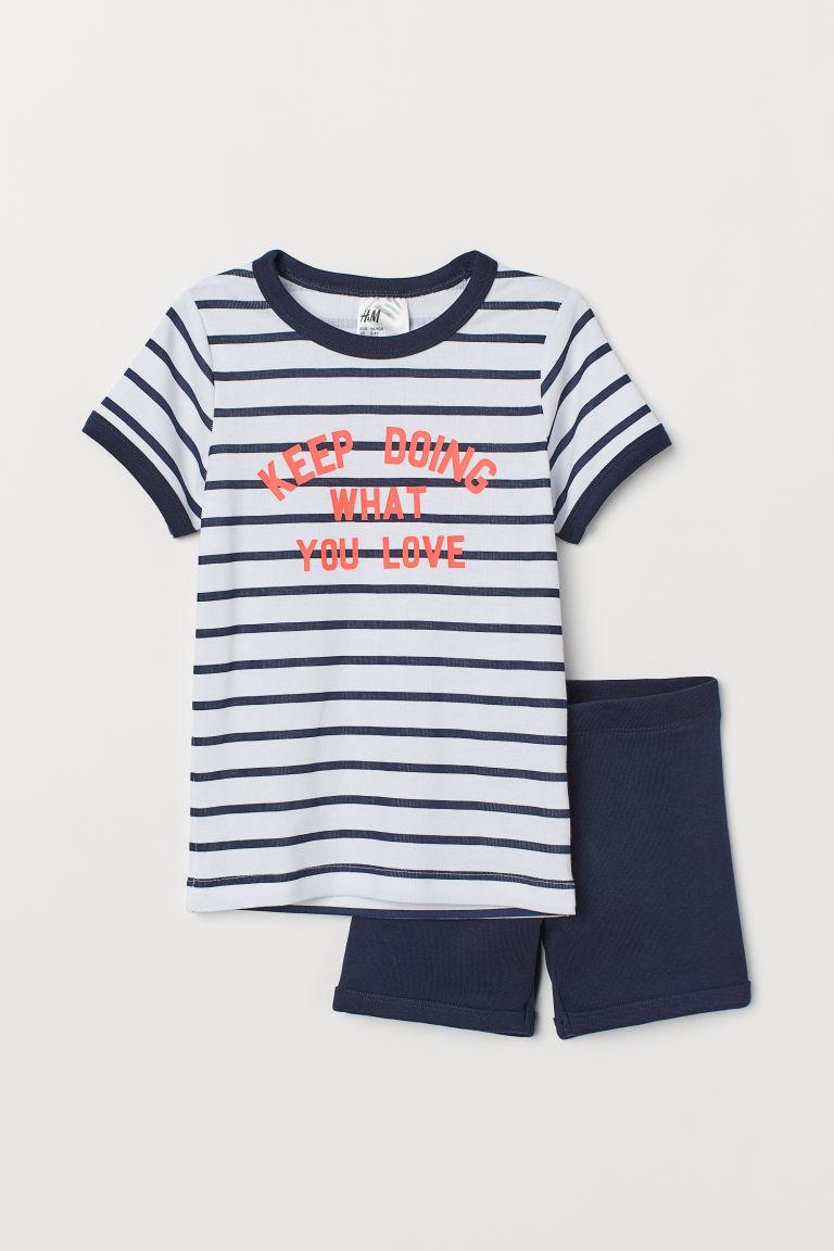 Jersey pyjamas - Dark blue/White striped - Kids   H&M GB