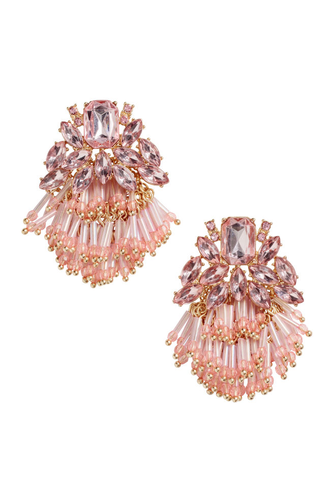 Earrings with sparkly stones - Pink - Ladies | H&M US 1