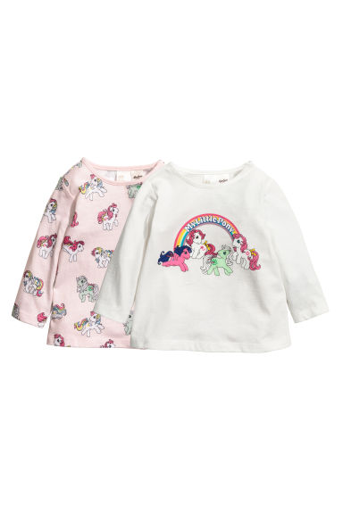 Tops en jersey, lot de 2 - Blanc/My Little Pony - ENFANT | H&M FR 1
