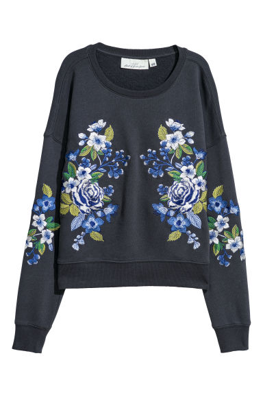 Embroidered sweatshirt - Dark grey/Flowers - Ladies | H&M