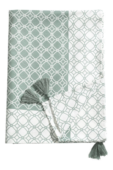 Cotton tablecloth with tassels - Dusky green/Natural white - Home All | H&M IE