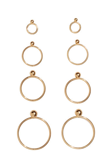 4 pairs round earrings - Gold-coloured - Ladies | H&M CN