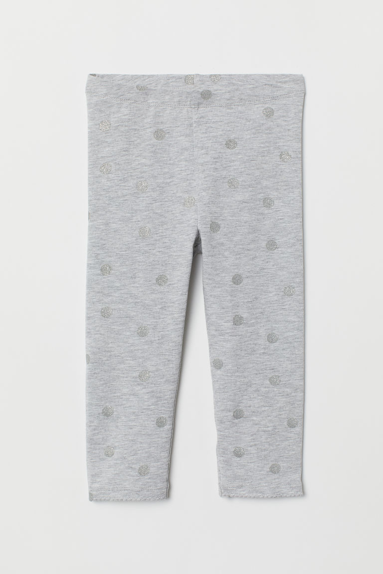 3/4-length leggings - Light grey marl/Spotted - Kids | H&M GB
