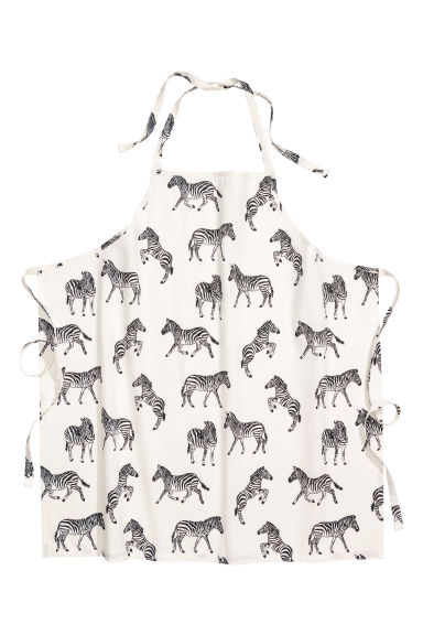 Patterned apron - Natural white/Zebras -  | H&M IE