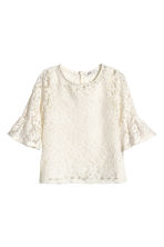 Flounce-sleeved lace top - Natural white - Kids | H&M CN 2