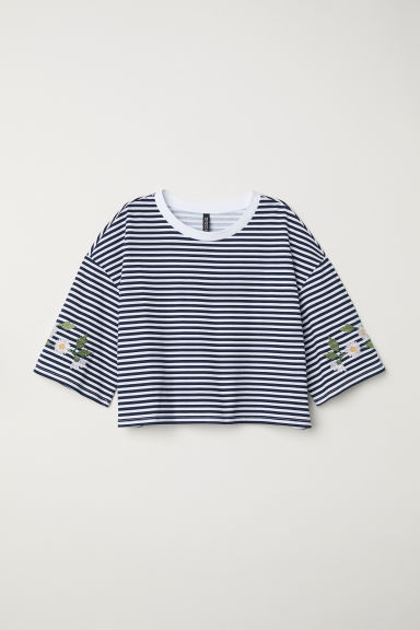 Short-sleeved sweatshirt - White/Blue striped -  | H&M CN