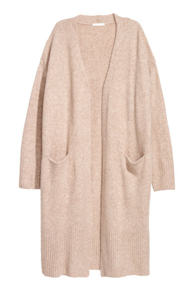 Long cardigan - Light beige marl -  | H&M