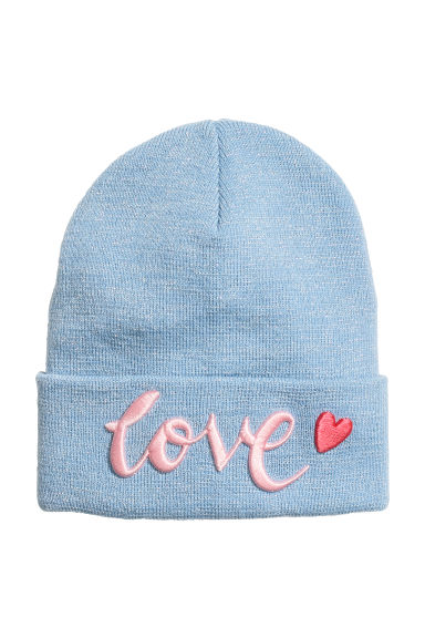 Fine-knit hat with a motif - Light blue - Kids | H&M CN