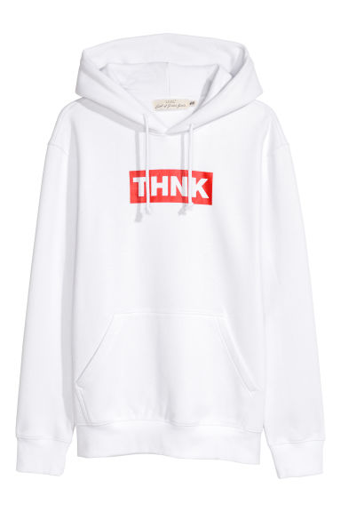 Hooded top with a motif - White - Men | H&M