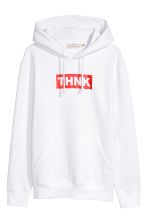Hooded top with a motif - White - Men | H&M IE 2
