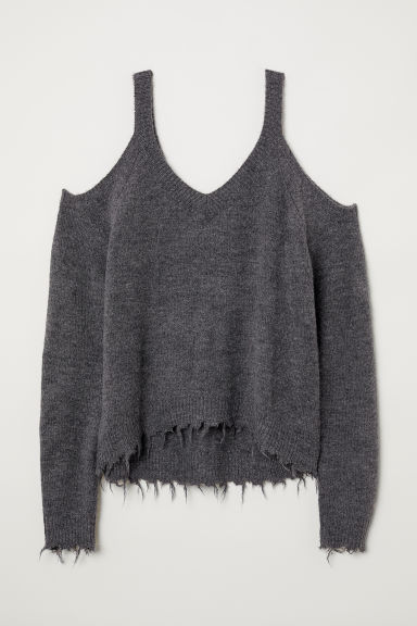 Cold-shouldertrui - Donkergrijs -  | H&M BE