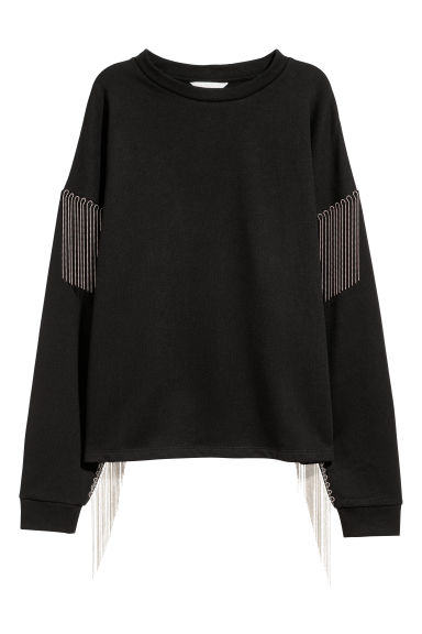 Sweater met bolletjesketting - Zwart - DAMES | H&M BE