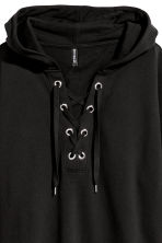 Hooded top with lacing - Black - Ladies | H&M IE 3