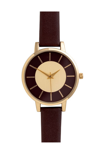 Watch with a leather strap - Dark brown - Ladies | H&M CN