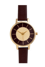 Watch with a leather strap - Dark brown - Ladies | H&M IE 1