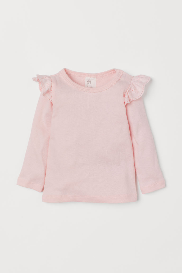 Jersey top with flounces - Light pink - Kids | H&M GB