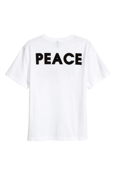 Printed T-shirt - White/Peace sign - Men | H&M GB 1