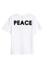 T-shirt met print - Wit/Peace - HEREN | H&M BE 2