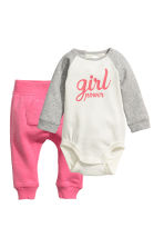 Tricot body en broek - Roze/Girl Power - KINDEREN | H&M BE 1