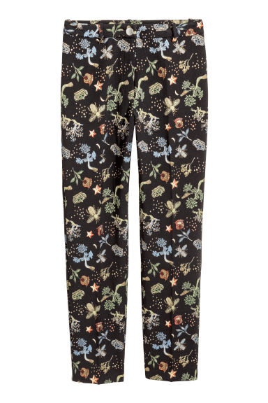 Jacquard-patterned trousers - Black/Plants - Ladies | H&M CN