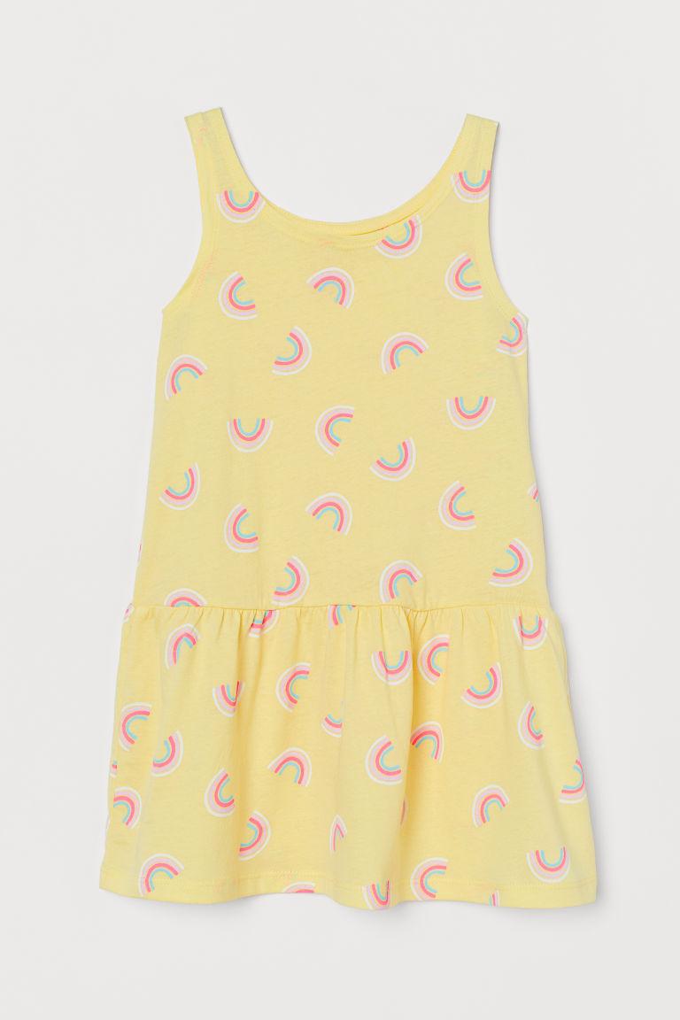 Patterned jersey dress - Light yellow/Rainbows - Kids   H&M GB