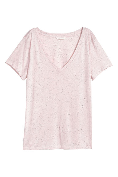 T-shirt à encolure en V - Rose clair/tweedé -  | H&M FR