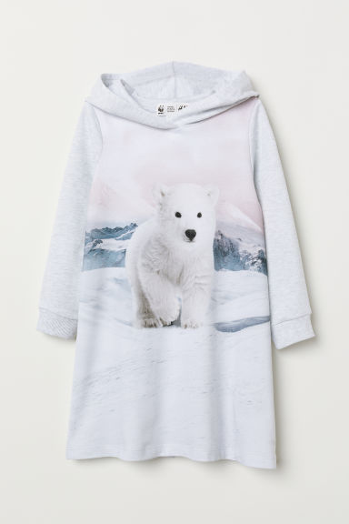 Hooded sweatshirt dress - Light grey marl/Polar bear - Kids | H&M GB