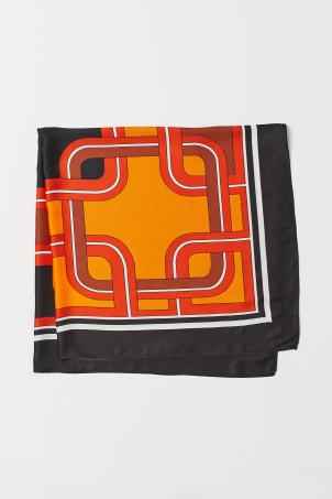 H&M Patterned Satin Scarf,Orange/patterned